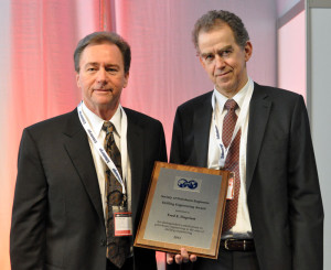 Fred Dupriest (left), who recently retired from ExxonMobil, received the 30th SPE Drilling Engineering Award from 2013 Drilling Conference chairman Øystein Arvid Håland (right) at the SPE/IADC Drilling Conference in Amsterdam on 5 March.