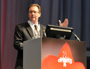 Fred Dupriest discussed four principles to create change – focus on engineering rather than optimization; making decisions deterministically, trust people; and get out of the way – in accepting his award during the opening session of the Drilling Conference.