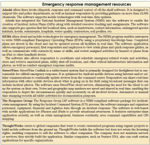 Table 1: Several emergency response-specific management programs are available to help responders access emergency plans in the field, interactively collaborate and report actions. This table provides a sampling of these programs.