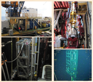 Top left: Saipem's Scarabeo 9 rig was retrofitted with an umbilical winch, a control container and office/tool container to use the EC-Drill dual-gradient drilling system. Top right: A modified riser joint, part of the dual-gradient system, is run through the rotary table on the Scarabeo 9. Bottom right: The bottom of the pump in the C-1 well was equipped with a mud return line and riser connection. Bottom left: Preparations for the pump module are made in the rig's moonpool.