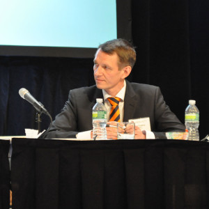 Mikael Troberg, Wartsila, discussed the emissions benefits of switching to natural gas from diesel, at the 2013 IADC Environmental Conference in New York City on 8 April.