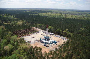 An Encana multi-well pad operation drills in the Tuscaloosa Marine oil and gas shale play, which spans Louisiana and Mississippi. The play is one of three emerging unconventional basins Encana is targeting for development this year.