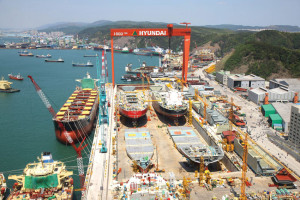 Hyundai Heavy Industries' (HHI) Offshore Yard is located next to its main shipbuilding yard in Ulsan. HHI is focusing on building new commercial vessels and offshore-related vessels such as drillships, semisubmersibles and FPSOs.
