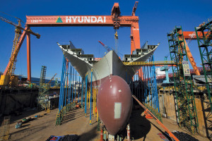 No. 1 Drydock is one of 10 drydocks at the HHI shipbuilding yard in Ulsan, South Korea. The dock is 2,200 ft (672 meters) long, 302 ft (92 meters) wide and 44 ft (13.4 meters) deep. HHI has 13 drillships and two semisubmersibles under construction.