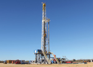 Independence Contract Drilling's Rig 201, from the ShaleDriller series, is working for Newfield Exploration in the Eagle Ford Shale near Asherton, Texas. The walking rig offers a dual-fuel component that allows the rig to run on a blend of gas and diesel. Two more ShaleDriller rigs are expected to be delivered this year.