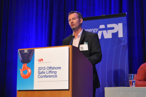 Caption: Kevin Boyle, BP upstream segment lifting technical authority, shared the eight elements of BP's system to ensure safe lifting operations at the 2013 API Offshore Safe Lifting Conference on 17 July in Houston.