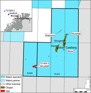 Statoil made a gas discovery in the Iskrystall prospect in PL608 in the Barents Sea.