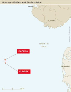 This map provided by Total shows the locations of the Ekofisk and Eldfisk oil fields in the Norwegian North Sea, relative to the coast of Norway.