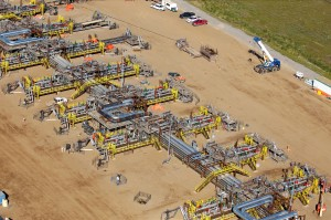 A well pad with SAGD (steam-assisted gravity drainage) well pairs is part of Suncor Energy's Firebag facilities in northern Alberta. In August, Suncor began field-testing a fully automated well servicing rig in the field.