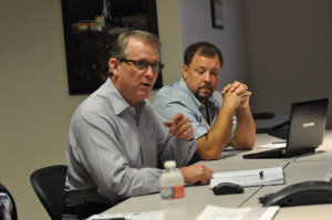 Mark Denkowski (left), VP of IADC's Accreditation and Credentialing Division, and Scott Maddox, director of IADC's Drilling and Well Services Division, led an industry meeting on 9 September to discuss KSAs for the well servicing industry.