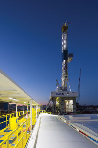Courtesy of Nabors Industries Nabors PACE X-01 rig is working in the Marcellus for Chevron, where the operator puts six to eight wells on a pad with longer horizontals.