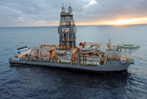 The ENSCO DS-4 drillship is working for BP in Brazil's pre-salt area. The dynamically positioned ship can drill in water depths up to 10,000 ft and to a maximum depth of 40,000 ft.
