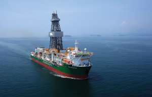 The Ocean Rig Mylos is one of three DP3 Ocean Rig drillships operating in Brazil's pre-salt fields. The Mylos, working for Repsol Sinopec Brasil, was delivered in 2013 and can operate in water depths up to 3,650 meters (12,000 ft).