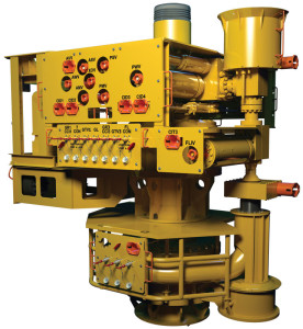 The OneSubsea Vertical Monobore Tree System incorporates high-capacity drilling connectors and increased hydraulic and electrical downhole line functionality. The system uses a technology that protects and isolates the control line systems during production, injection and workover operations.