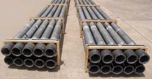 Alcoa Aluminum Drill Pipe is 40% lighter than steel pipe due to its design and aluminum construction.