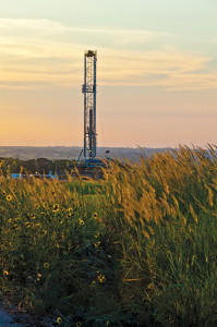 Rig 425, a Helmerich & Payne FlexRig3 unit, drills for Devon Energy in Payne County, Okla. The Mississippian Woodford Trend in northern Oklahoma is an emerging oil opportunity for Devon, which has access to 650,000 acres.