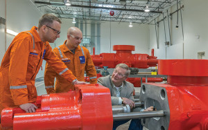 Students receive hands-on training with subsea equipment at the Lloyd's Register Energy Training Center in Houston.