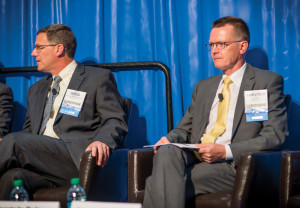 The industry can take lessons learned from the offshore business to its onshore activities, Statoil North America's Torstein Hole (right) said during a panel session at the 2014 OTC in Houston. Shell's Greg Guidry (left) urged the industry to focus more on engaging with the public, noting issues around public acceptance for both deepwater and unconventionals development.