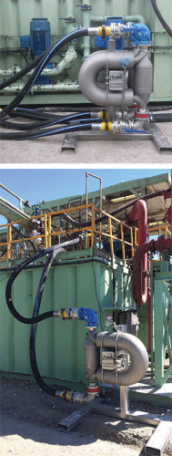 Top and bottom: OnSite Integrated Services is developing a software system that uses Coriolis meters on the suction and flow lines to measure a mass balance of the well's circulatory system. The meters are accessed by blue clean-out ports. The mass flow going into the well, coupled with the amount of cuttings being generated at the bit, allows the operator to plot the amount of cuttings being produced versus the amount being removed from the well. The difference is what should be seen at the surface to ensure efficient hole cleaning.