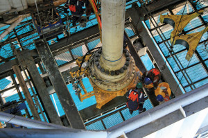 Crews install the guidance system to Aquaterra Energy's High Pressure Riser System. It is rated to 10,000 psi and was run in the North Sea for Apache.