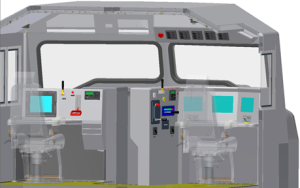 This CAD rendering shows a redesign of a locomotive cab based on user-centered design principals. Important lessons can be learned from the US railroad industry and applied to oil and gas, said Amanda DiFiore, who's leading the human factors sub-group of the Drilling Systems Automation Roadmap Cross Industry Initiative Committee.