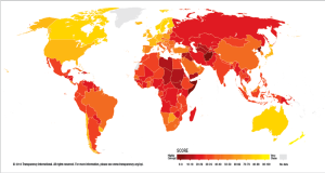 Transparency International's Corruption Perceptions Index measures the perceived level of public sector corruption in countries and territories around the world.