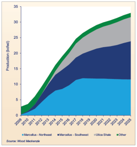 Production in the Marcellus has more than doubled from 6 billion cu ft/day (Bcfd) in 2012 to 13 Bcfd in 2014. In 2010, the Marcellus produced only 2 Bcfd.