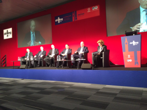 """Successfully Delivering Wells in a Changing World"" was the theme for the plenary session at the 2015 SPE/IADC Drilling Conference on 18 March in London. Panelists were (from left) Ivan Tan, Shell; Jack Winton, KCA Deutag; Arne Lyngholm, Statoil; Steve Kaufmann, Schlumberger; and Gary Jones, BP. Eithne Treanor of E Treanor Media moderated the townhall meeting-style session."