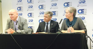 Well control training lies at the nexus of everything IADC is trying to do, IADC President/CEO Stephen Colville (left) said during a news conference at the 2015 Offshore Europe Conference in Aberdeen last week. In center is IADC consultant Malcolm Wells, and at right is IADC Senior Director of Program Development Brenda Kelly.