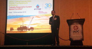 "Piroj Samutthananont, VP Global Solutions for PTTEP, speaks at the 2015 IADC Critical Issues Asia Pacific Conference, held 18-19 November in Singapore. Mr Samutthananont asked drilling contractors to help push PTTEP's drilling performance ""to the point that we've never been before."""