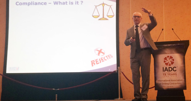 Mark Green, QHSE Manager with Frigstad Offshore, suggested steps that companies can take to manage compliance in a presentation at the 2015 IADC Critical Issues Asia Pacific Conference on 19 November in Singapore.