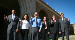Texas Tech University students Ernest Munoz, Alondra Guevara, Voigt Hansberger, Marissa Smart, Ryan Bratton and Marco Moreno receive IADC Houston Chapter scholarships.