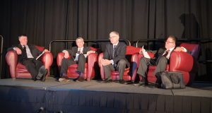 During the plenary session held on 2 March at the IADC/SPE Drilling Conference in Fort Worth, panelists discussed the opportunities the industry has to become more innovative and creative. From left are David Haas, Deloitte and Touche; Jon Crane, Shell; Bill Kline, retired from ExxonMobil; and Dr Jose Gutierrez, Transocean.