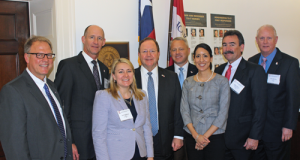 IADC members meet with Texas Congressman Bill Flores (center) in Washington, DC. From left are Joey Husband, Nabors Drilling Solutions; Jay Minmier, Nomac Drilling; Liz Craddock, IADC Vice President, Policy and Government Affairs; Congressman Flores; Scott McKee, Cactus Drilling Company; Melissa Mejias, IADC Legislative Assistant; Mike Garvin, Patterson-UTI Drillling Company; and Bob Warren, IADC Vice President, Onshore Division.