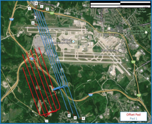 Figure 1: In the spider plot, the Pittsburgh International Airport project pad 1 is shown in blue, and offset pad 2 is shown in red. Both were designed with negative vertical section and extended lateral sections to optimize lease development and maximize subsequent gas production.