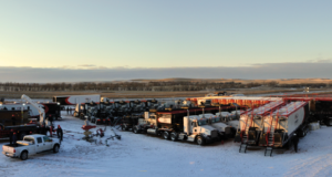 This Liberty Oilfield Services frac fleet is operating in North Dakota's Bakken. The company has been able to complete wells greater than 10,000-ft deep in this region using northern white sand and attributes this to significantly increasing the amount of sand pumped into wells.