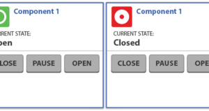 This screen shows the separation between the state of a component and the ability to function it. The state of Component 1 in this example is listed and is visually reinforced by the color and shape of the icons. The ability to control Component 1 remains independent of the state with persistent buttons for close, pause and open.