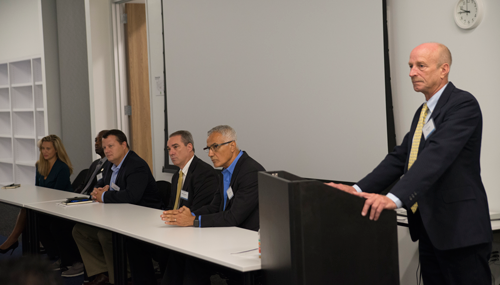 """From left are Evelyn Baldwin, Human Factors Lead Instructor at Maersk Training; Jarvis Outlaw, Petroleum Engineer at the US Bureau of Safety and Environmental Enforcement (BSEE); Trent Martin, Senior Manager – Technical Support Service at Transocean; Mike Fairburn, Operations Manager at Shell; and Eddie Habibi, Founder and CEO of PAS. The panelists participated in the Ocean Energy Safety Institute forum, """"Focusing on Alarm Management for Safer Offshore Operations,"""" held on 24 August in Houston. Bob Blank (right), Vice President Operational Excellence at Noble Drilling, moderated the panel discussion on alarm management at the forum."""