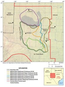 The Wolfcamp shale lies within the Midland and Delaware Basins. The USGS estimates that the  Wolfcamp shale within the Midland Basin contains an estimated mean of 20 million bbls of oil.