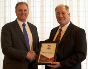 Dr Jerome Schubert (right), faculty adviser for the Texas A&M chapter of IADC, said student chapters can foster collaboration between the university's faculty and the industry to solve industry challenges. Andy Hendricks, 2017 IADC Chairman (left), said the Texas A&M Chapter of IADC will serve as a model for developing future student chapters.