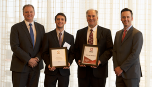 IADC President Jason McFarland presented the Texas A&M student chapter of IADC with a certificate of organization at luncheon held by the association's Houston Chapter on 31 January at the Petroleum Club in Houston. From left are Andy Hendricks, Patterson-UTI; Corey Wittig, Texas A&M; Dr Jerome Schubert, Texas A&M; and Jason McFarland, IADC.