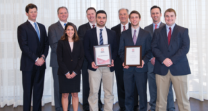 The IADC student chapter at Texas A&M received its certificate of organization on 31 January. Front row from left are Wendolyne Castillo, A&M Chapter Treasurer; Zack Aldelamy, A&M Chapter Secretary; Corey Wittig, A&M Chapter Chairman; and Zachary Matous, A&M Chapter Vice Chairman. Back row from left are Chris Menefee, Independence Contract Drilling and IADC Houston Chapter Chairman; Andy Hendricks, Patterson-UTI Energy and 2017 IADC Chairman; Ron Lee, Noble Drilling and IADC adviser to the A&M chapter; Dr Jerome Schubert, professor and A&M Chapter faculty sponsor; and Jason McFarland, IADC President.