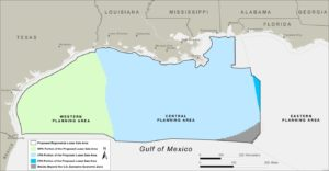 Image courtesy of BOEM BOEM is proposing to offer for oil and gas leasing unleased blocks within the Western Planning Area, Central Planning Area and Eastern Planning Area of the Gulf of Mexico.