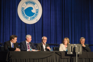 Representatives from the UK government and industry weigh in on their strategies for reducing decommissioning costs in the UK North Sea during a panel session at the 2017 OTC on 3 May in Houston. From left are Dave Blackburn, Senior VP, Petrofac; Roger Esson, Chief Executive, Decom North Sea; Win Thornton, VP of Decommissioning, BP; Wendy Kennedy, Chief Executive, Offshore Petroleum Regulator for Environment & Decommissioning, UK Department of Business, Energy and Industrial Strategy; and Gunther Newcombe, Head of Operations at UK Oil and Gas Authority. The panel session highlighted ongoing collaborative efforts to develop innovative approaches for decommissioning.