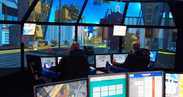 Noble's custom simulators provide a hands-on approach for students to apply their learnings from the classroom to an offshore drilling environment. The simulators use actual data from Noble's fleet to mimic real-world situations, such as well control, poor weather and power failure.