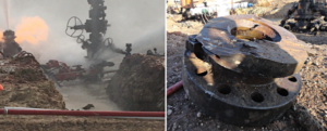 Figure 5: A jet cutting operation was performed to cut the wellhead of well #4. The picture on the left shows the position of the jet cutter below the lowermost leak, and the picture on the right shows the cross-section of the cut.