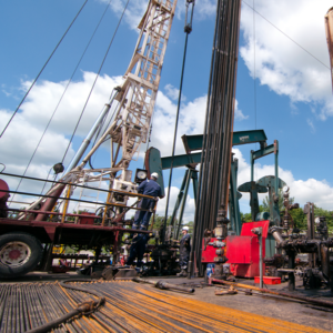A workover rig conducts recompletion operations at IGas' Welton conventional site, in England's East Midlands region, which is made up of six fields
