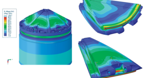 Figure 2 shows mises stress contours on the valve at a static pressure of 5,000 psi.