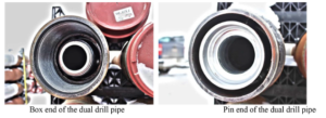 The tool joints of the dual channel drill pipes. Left: Box end of the dual drill pipe, containing the inner pipe pin and sealing element. Right: Pin end of the dual drill pipe, containing the inner pipe box end for the stab in connector.
