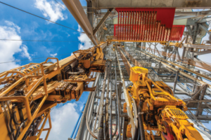 NOV's TDX 1250 top drive and Hydraracker pipe-handling system are pictured aboard the Noble Tom Madden drillship. The company is working to create an entire drilling ecosystem that encompasses the downhole, as well as topside equipment such as these.